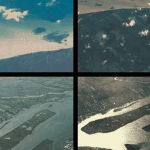 Collage of photographs depicting aerial views.