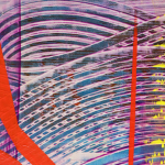 Image: Detail of a painting with purple background and swirled lines, red shapes, and yellow dabs of paint in the foreground.