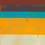 Image: Detail of an oil painting with taupe, orange, teal, brown, purple and red geometric stripes and dripped paint.
