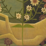 Image: Detail of a painting depicting ginseng root and flowers.