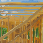 Image: Painting of a building in construction, with the building's frame set against the sky and greenery.