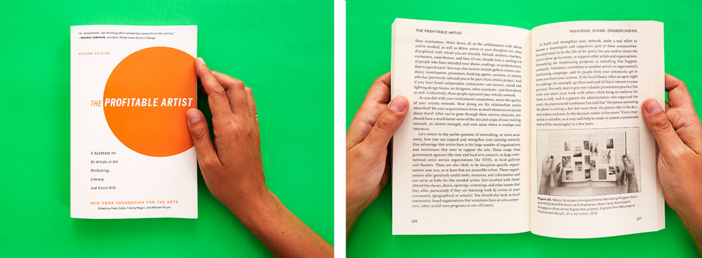 "An image of the front cover of NYFA's ""The Profitable Artist"" book and another of two hands holding the book open - both against a bright green background and by Marco Scozzaro."