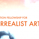 "Image: Watercolor image with text stating ""Recharge Foundation Fellowship for New Surrealist Art"""