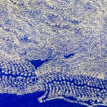 Image of white abstract line drawing over deep blue background.
