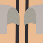 Image: Detail of a larger work of cut paper featuring two purple/grey shapes on a primarily peach background.