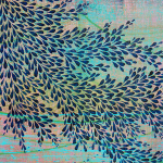Image: layers of blue, turquoise, mauve, and green paint with a graceful indigo leaf-like pattern overtop.