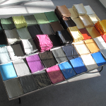 Several colorful sheets over a table.
