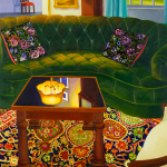 Painting of a living room with a prominent green couch.