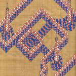 Geometrical drawing in shades of orange, white, and blue over graph paper