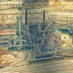 Drawing of a factory as seen from above in earthy tones.