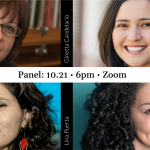 Image: Graphic with headshots of sociology professor Ginetta Candelario, artist Lina Puerta, artist and author Elia Alba, and art historian Tatiana Reinoza.