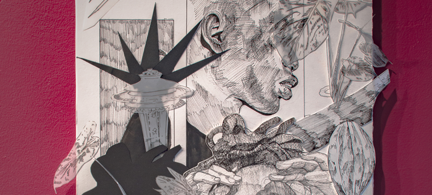 Image: This black and white collage is of a female portrait that is drawn with an ink pen. The female has her arm raised so that her hands meet her forehead. At the forefront are papaya and various plants. Behind the portrait is more plants that vary from solid and fully realized to transparent and less detailed. Behind this forest of sorts is another figure, male, that looking off into the distance to the right. His face is partially covered with a transparent leaf. on the other side of him is a futuristic building shooting beams of black lights. There is also a spaceship hovering above the scene.