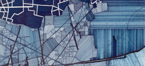 Image: Detail of a large-scale abstract gridded multi-panel blue ink on paper drawing by Derek Lerner.