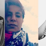 Image: A composite of three portraits. From left: a black and white image of a smiling woman, seated and cropped from the waist up (Ge Gao); a selfie of a woman looking down at the camera with a scarf on and windswept hair (Marwa Helal); and a cropped black and white image of a man adjusting his glasses (Ricardo Maldonado).