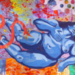 Image: Brightly colored quilt with a central figure of a nude blue woman being bitten by a snake. There are flames and planets bursting out of her forehead.