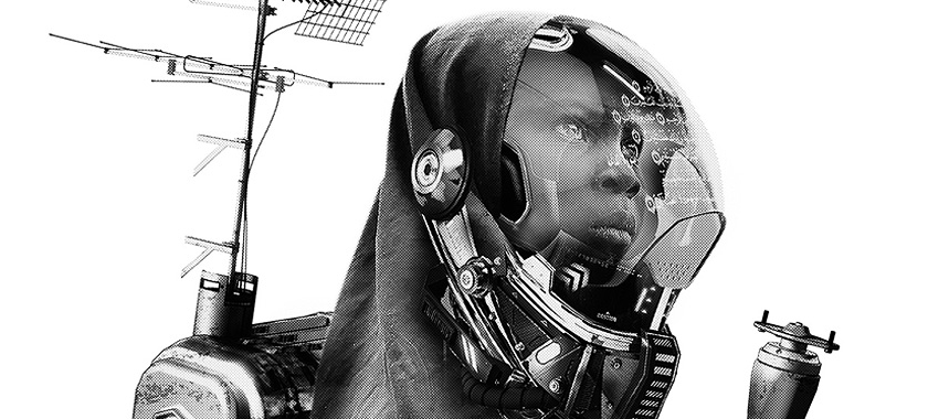 Image Detail: A young Muslim girl holding an antenna and wearing an oxygen mask.