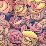 Detail from a pen and ink watercolor drawing featuring pink, purple, and yellow-colored plant-like forms.