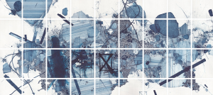 Large-scale abstract gridded multi-panel blue ink on paper drawing by Derek Lerner.