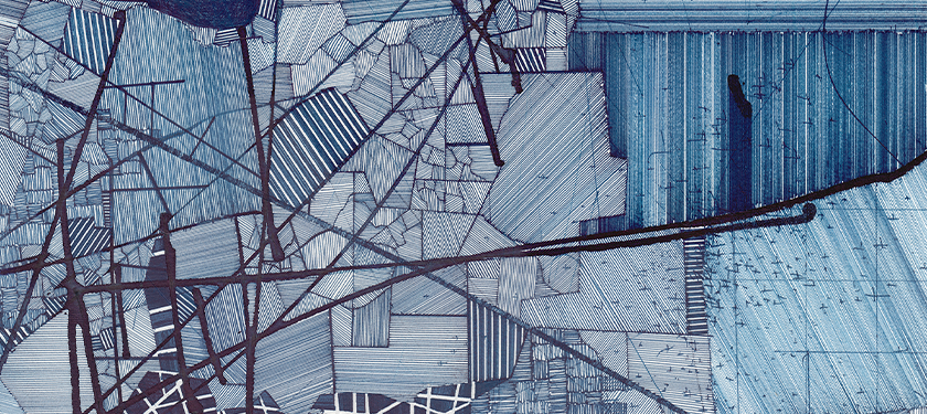 Detail image of a large-scale abstract gridded multi-panel blue ink on paper drawing by Derek Lerner.