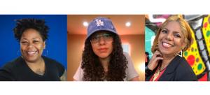 "Image: Headshots of ""Women Leading the Music Industry"" panelists Nikisha Bailey, Christal Jerez, and Marietta Ulacia."