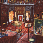 A small oil painting of a period interior with an ornate wood paneled room with many portraits hanging all over the walls.
