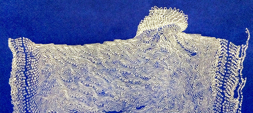 Abstract line drawing in white over blue background