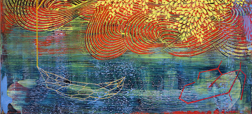 Image Detail: Brightly-colored painting with layered textures and designs in reds, yellows, and blues. More detailed, delicate lines are at the forefront.