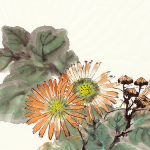 Image Detail: Chinese watercolor painting of bright orange chrysanthemum flowers with green leaves.