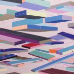 Image: colorful painting with dynamic rectangular shapes floating against a light pink/lavender background