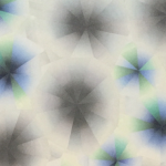 Image: Detail of a flower-like water based woodcut design by Takuji Hamanaka. The design is rendered in hues of grey, blue, and green.