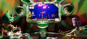Screenshot of a videogame with stop motion creatures in front of a screen