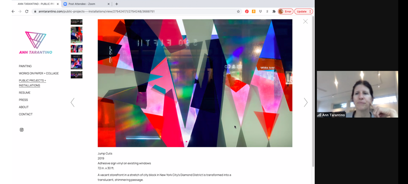 Image: Screenshot of an online studio visit being conducted by Zoom. Artist Ann Tarantino appears in a small thumbnail on the right, while her artist website is featured on the left.