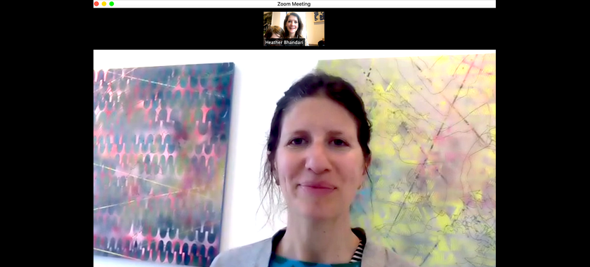 Image: A screenshot from an online studio visit held via zoom. Artist Ann Tarantino is pictured largely with two paintings behind her; Heather Bhandari is in a small thumbnail above.