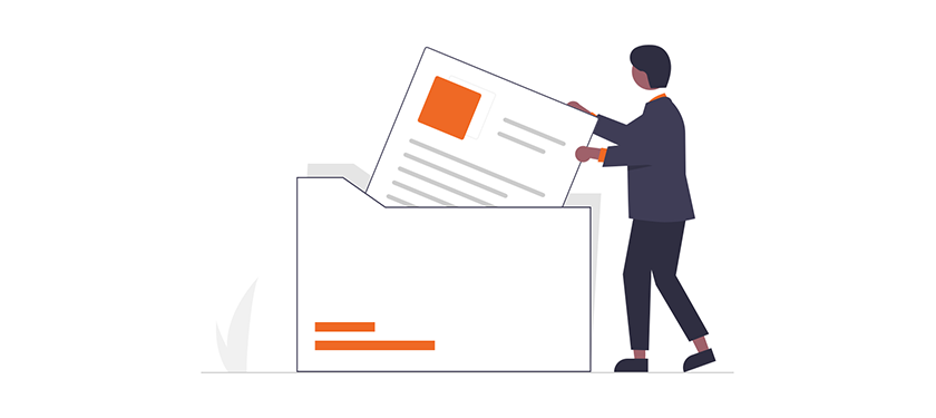 Illustration of individual placing a document inside a folder
