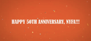 """Image: Orange background with confetti imagery and text that reads: """"Happy 50th Anniversary, NYFA!!!"""""""