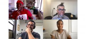 Image: Screenshot of (clockwise from Left) Derek Fordjour, Dread Scott, Camille Crain Drummond, and Shaun Leonardo in conversation.