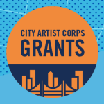 """Image: Bright blue graphic with orange circle """"City Artist Corps Grants"""" logo in the center and smaller logos in the bottom right for New York City Artist Corps, NYC Department of Cultural Affairs, and NYFA."""