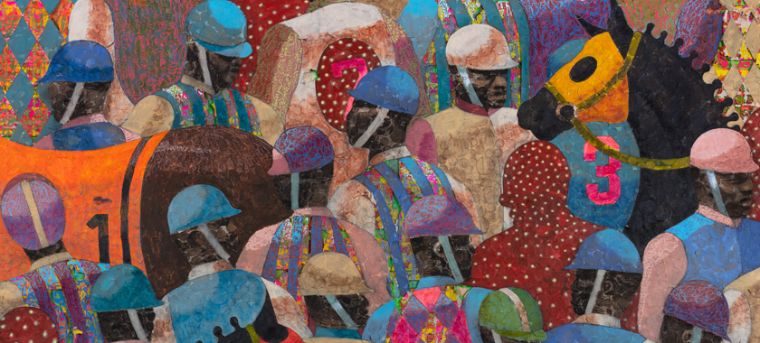 Image: Painting detail featuring a crowded canvas of Black jockeys with race horses. They wear colorful hats and horse riding silks.