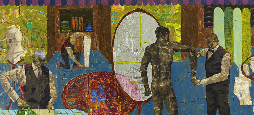 Image: Brightly colored, almost collage-like painting detail featuring a nude Black man in front of a mirror who is getting measured for a suit in a tailor's shop.