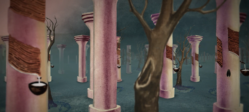 Image: A video still showing an watercolored illustration of a forest, with trees with out leaves and pink columns.