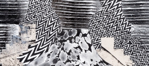 Abstract painting in black and white of spray, lines, and zig zag patterns