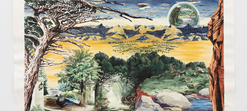 Image: Part of a series of large watercolors, depicting vast landscapes collaged together from various Ford commercials from the past to the present. Each watercolor has a bed or an office where Amazon Mechanical turk workers do their work.