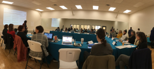 Image: Fisheye lens view of a professional development workshop at Arts Mid-Hudson; participants are seated at tables with paperwork and laptops as an individual stands at the front of a room with a presentation screen behind them