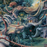 Image Detail: Painting of a forest landscape after a catastrophic flood where discarded mattresses and appliances have been repurposed to create a new kind of habitat. The artist, Julie Heffernan, is imagining a different kind of treehouse, with different floors, all made of repurposed materials where people live together, engaged in everyday activities--sleeping, eating, playing, and even some inviting suspicion.