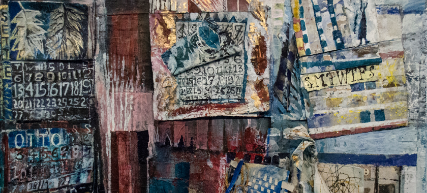 Image: Detail of a horizontal painting on linen, 2x3 feet. It is covered with many collaged elements, using acrylic and water color paint, pencil, paper, wire, buttons, thread, cotton, canvas, and linen. Roughly divided into a two and three row, ten or eleven box grid; each box representing a month of the year. The teal blues and Indian reds refer to the colors of the Roman frescos at Pompeii and Herculaneum.