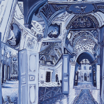 Image: small oil painting of a period interior painted in monochromatic tones of blue. There is a long carpet runner that goes down the center of the painting to the end of a long hall. It has a symmetrical pattern of flowers and leaves that start out big and get smaller as it goes back into the distance. On either side of the carpet is a wood paneled floor. The hallway is flanked by a series of rooms and all of the doors open outward. Some of the rooms have geometric patterns and are covered with portraits. Above the doorways are paintings of women sitting in a landscape and above the paintings are a series of archways decorated with moldings. Each archway is a little different and doesn't quite connect easily to the rest of the architecture; appearing fragmented.