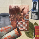 """Image: Detail from an assemblage and embroidery work by Paola de la Calle. Images include palm leaves, an aluminum cup, a pay phone, an """"Immigrant Passport Visa Photos"""" sign, and two rolls of quarters."""