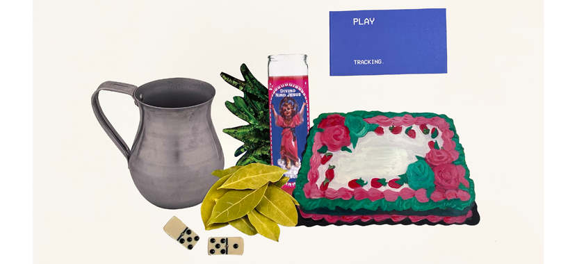 Image: Detail of a mixed media collage with rhinestones. Depicted are an aluminum cup, bay leaves, a votive candle, birthday cake, and other items referencing the artist's childhood.