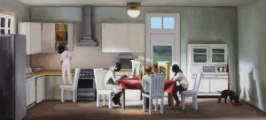 Image: Painting by Amy Bennett, with morning light illuminating a breakfast table where a family hunches over their cereal bowls partitioned by cereal boxes. A young girl is standing on a chair pursuing the options of a cupboard.