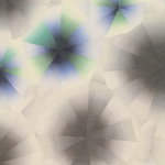 Image: The artist uses blended colors that create a type of stained glass affect. Expended circles of grey that lose defined edges alternate diagonal rows with blue and green bursts that resemble refracted light.